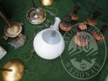Immagine di N.1 LAMPADARIO IN  CRISTALLO SOFFIATO BIANCO FORMA SFERICA CON APERTURA A LATO 'GIEFFE ILLUMINAZIONE'