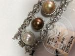 Immagine di Rif 3/2 bracciale oro bianco 18 kt con diamanti perle australiane e tahitianediamanti taglio brillante peso ct 5-40 qualit- g/h vs/si (GIA)9 perle australiane e tahitiane diametro 12-5-13 mm peso gr 31-61le gemme sono incassate in una montatura del p